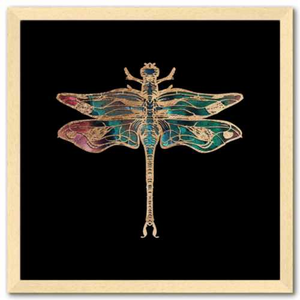 16 inch square Gold Foil Galactic Dragonfly Fine art print by Aimee Schreiber with natural maple wood frame