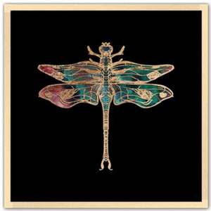 24 inch square Gold Foil Galactic Dragonfly Fine art print by Aimee Schreiber with natural maple wood frame