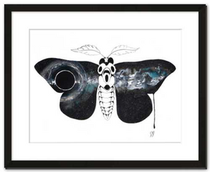 Entropy framed fine art print of watercolor painting by Becca Bastian watercolor ink space moth galaxy