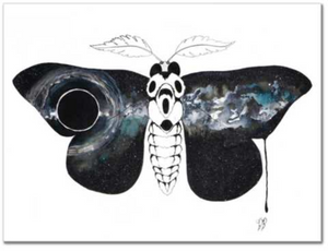 Entropy fine art print of watercolor painting by Becca Bastian watercolor ink space moth galaxy
