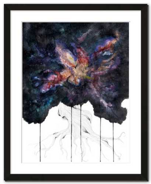 Genesis fine art print framed watercolor painting by Becca Bastian watercolor ink space tree galaxy