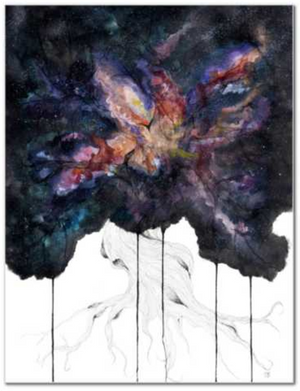 Genesis fine art print watercolor painting by Becca Bastian watercolor ink space tree galaxy