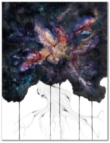 Genesis original watercolor painting by Becca Bastian watercolor ink space tree galaxy