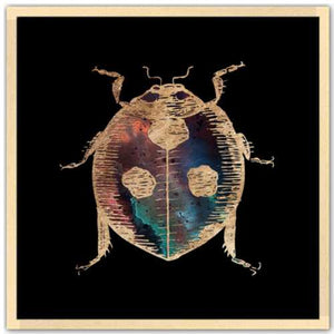 24 inch square gold Foil Galactic Ladybug Art Print by Aimee Schreiber in natural maple wood frame