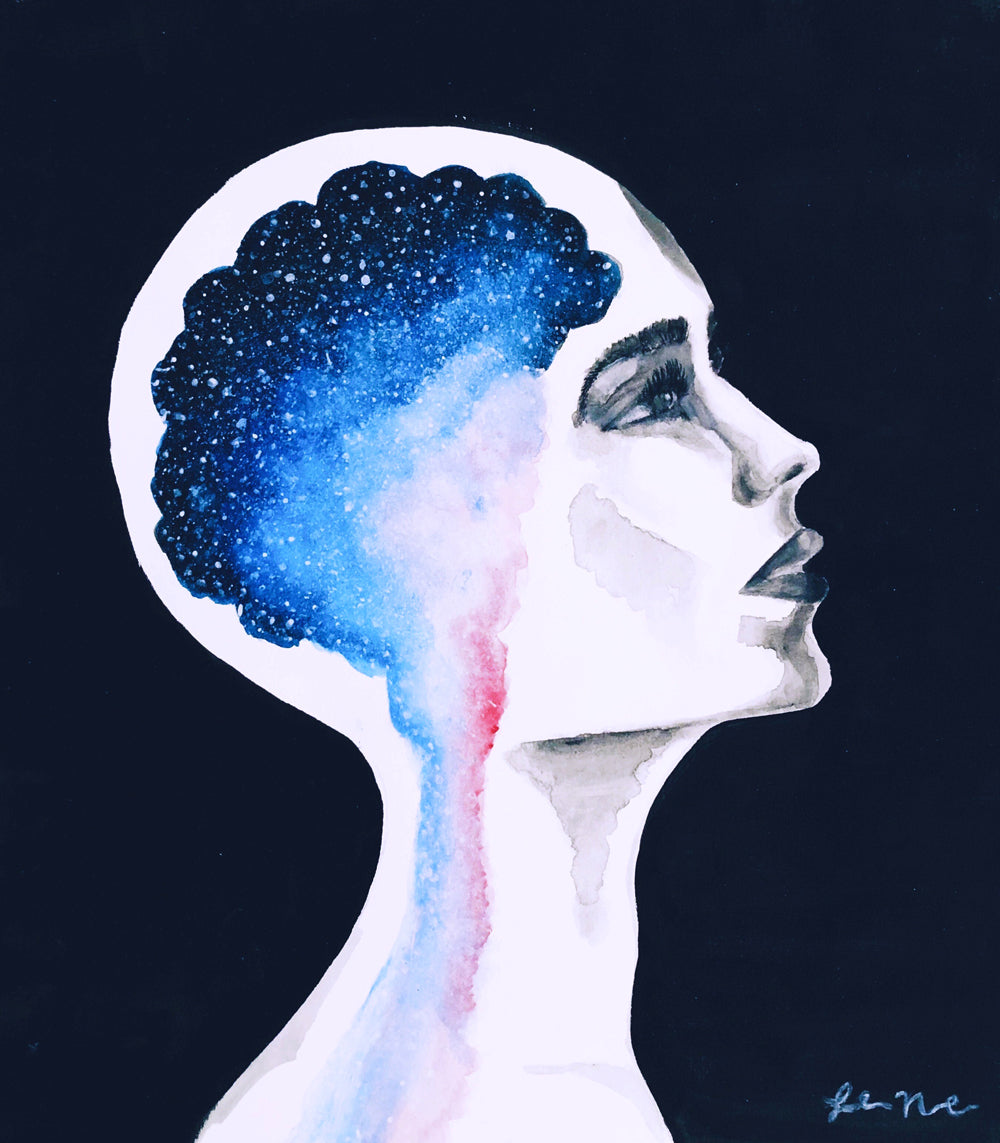 Unbound watercolor and acrylic fine art print galaxy space brain woman profile
