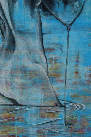 Detail of Birth of Lilith by Linda Torres original acrylic painting on canvas, blue figure, figurative art