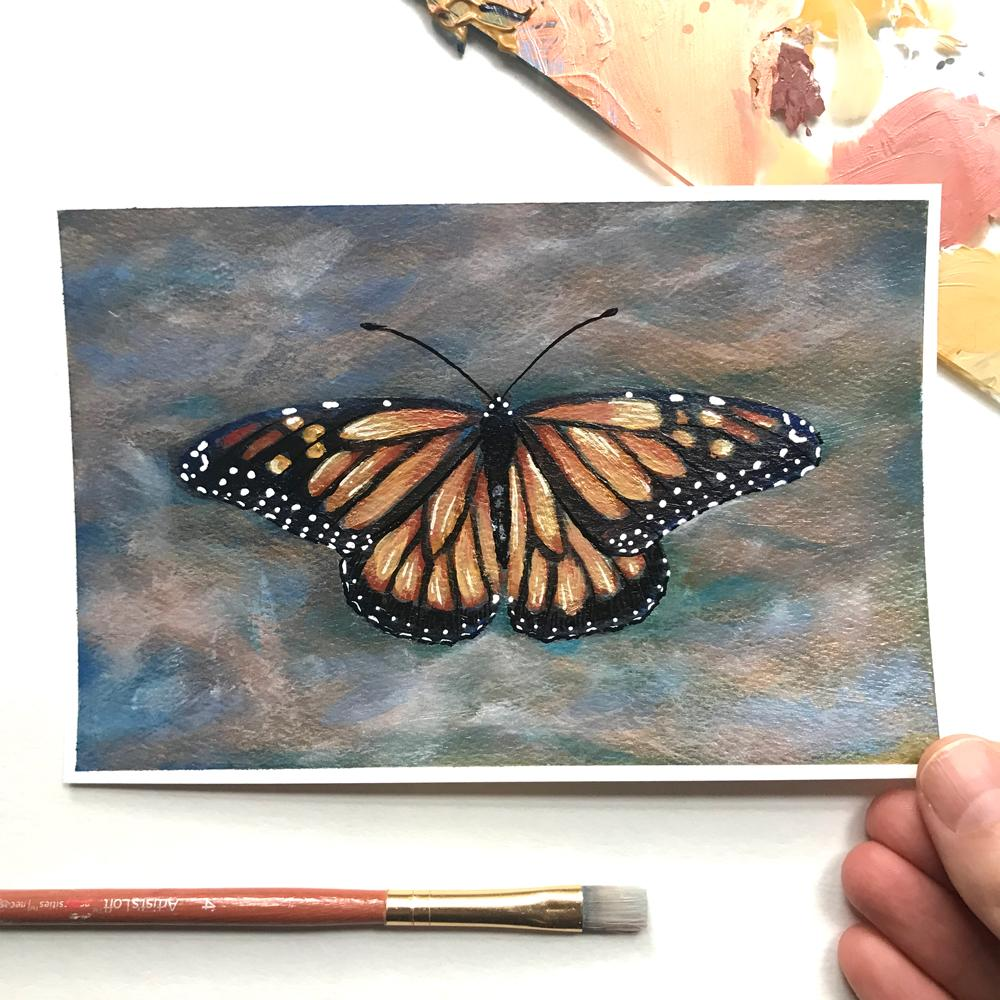 Monarch Butterfly poetry Postcard painting by Aimee Schreiber