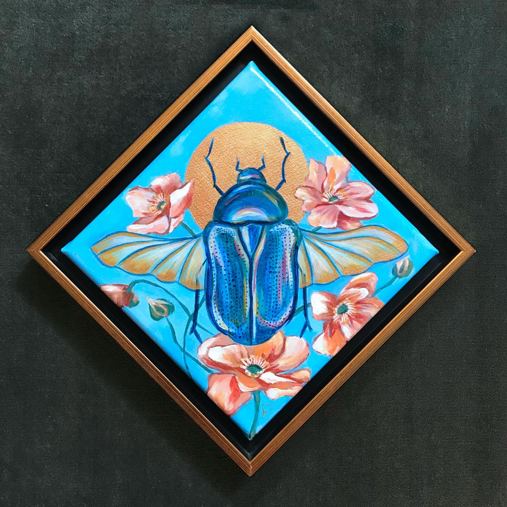 """Scarab Beetle"" Framed Acrylic Painting 8x8"