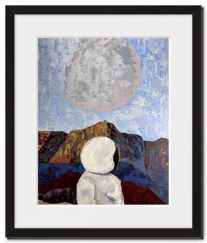 Social Distancing fine art print framed astronaut space landscape acrylic painting by Danny Schreiber, textured painting