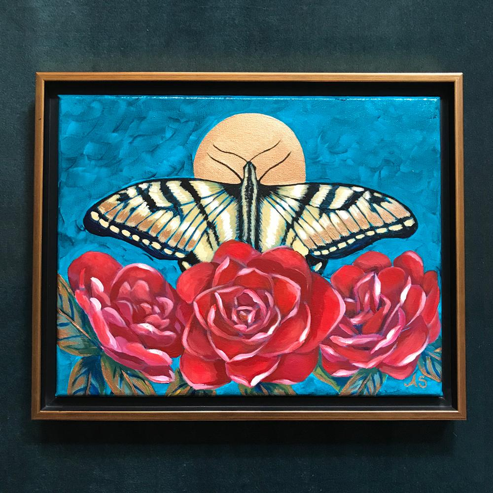 Yellow swallowtail butterfly in red camellias acrylic painting by Aimee Schreiber