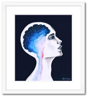 Framed Unbound watercolor and acrylic fine art print galaxy space brain woman profile
