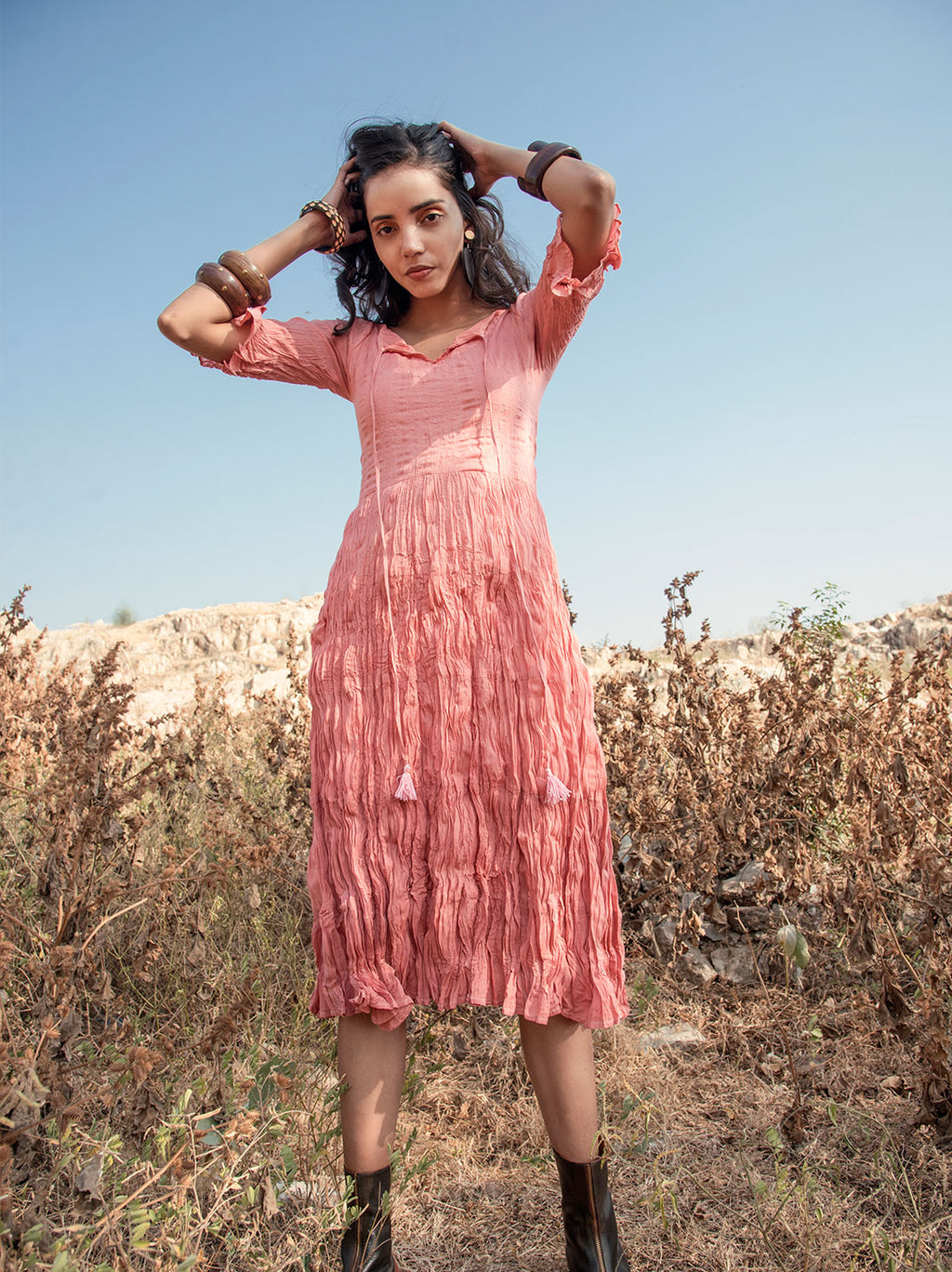 Rose ombre mulmul cotton midi dress