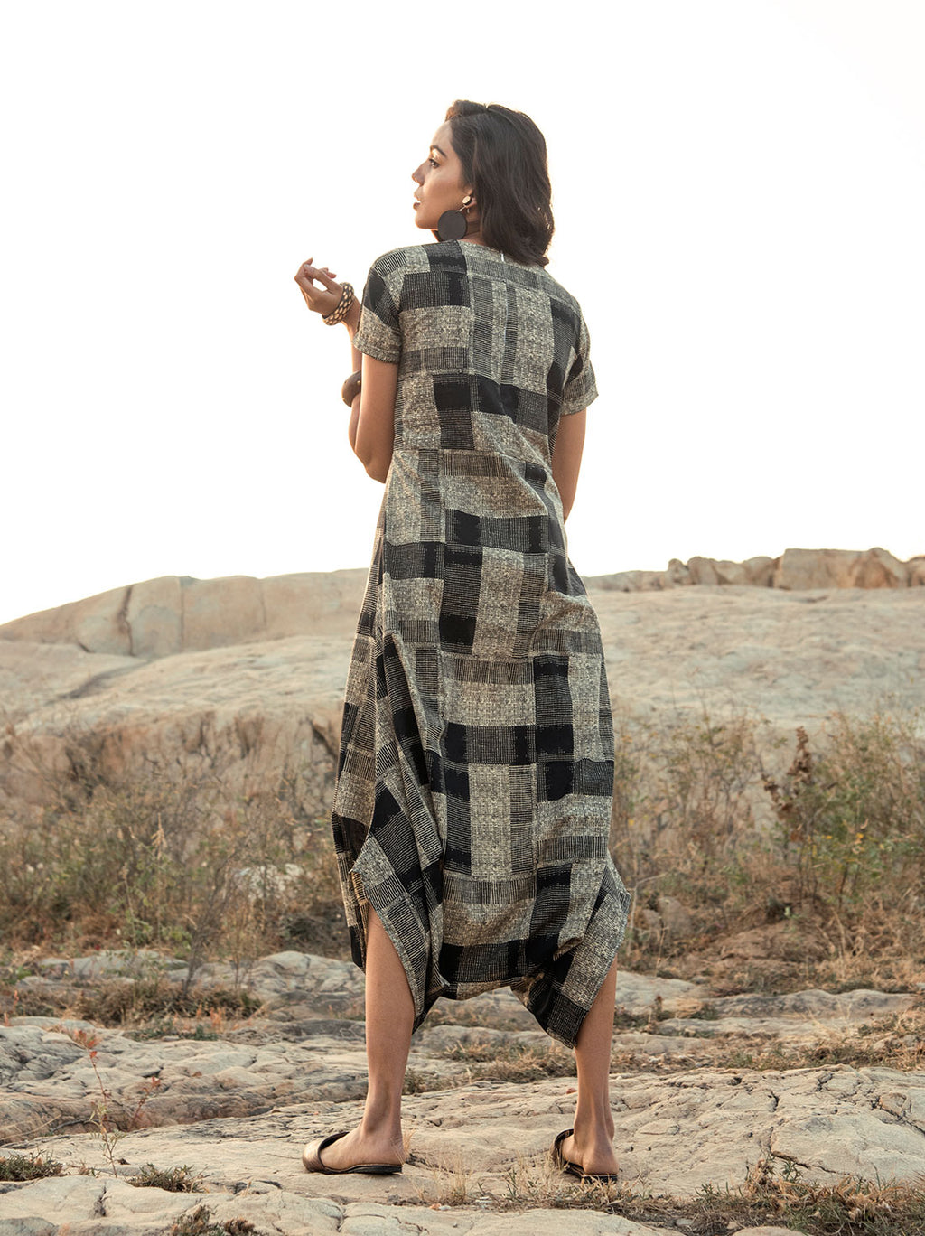 Grey and black abstract printed cotton Jumpsuit