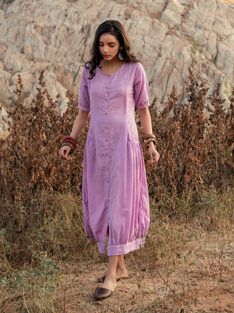 Berry pink cotton long dress