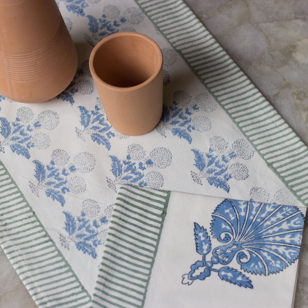 Blue Floral Table Mat & Napkin Set