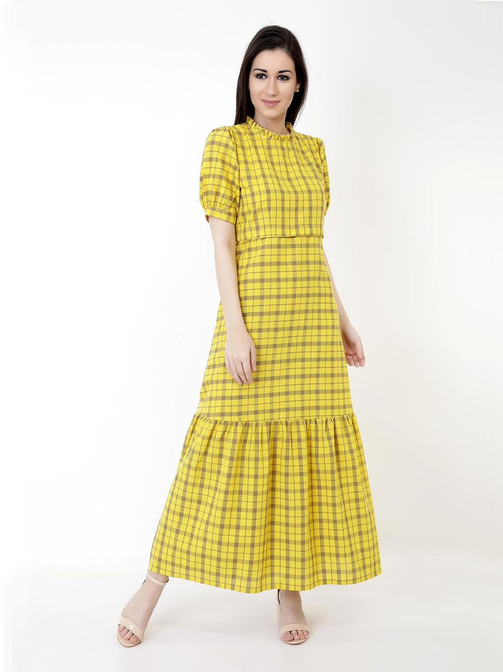 Checkered Mustard Maxi Dress