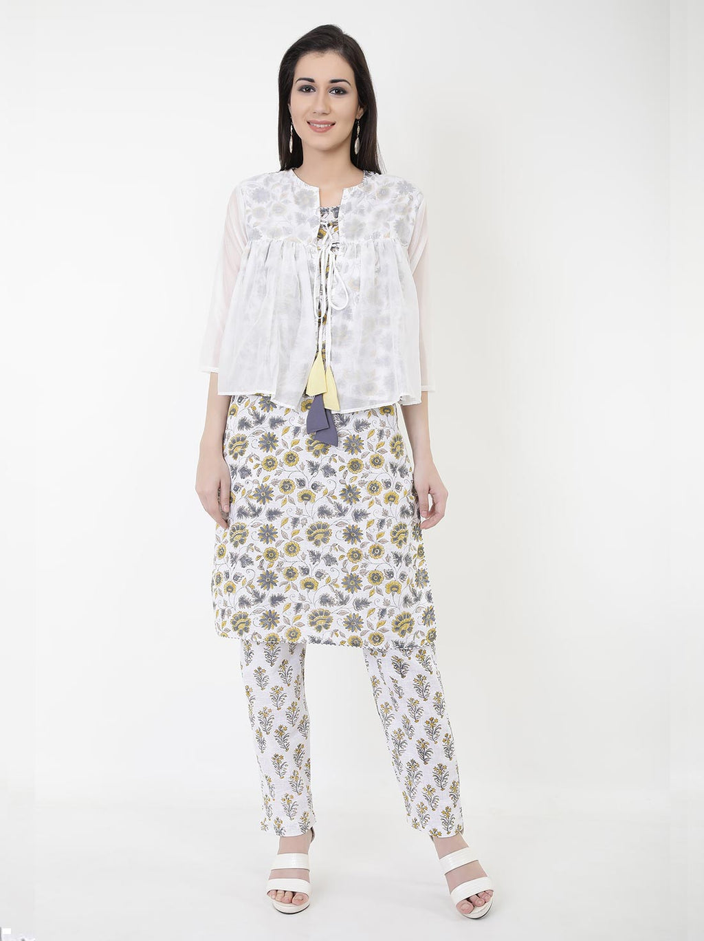 Poetess Kurti Set with Sheer Jacket