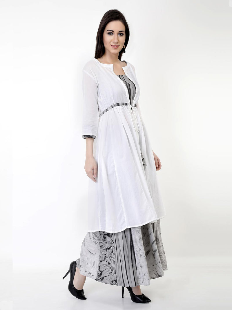 Charcoal Angrakha Maxi With Jacket