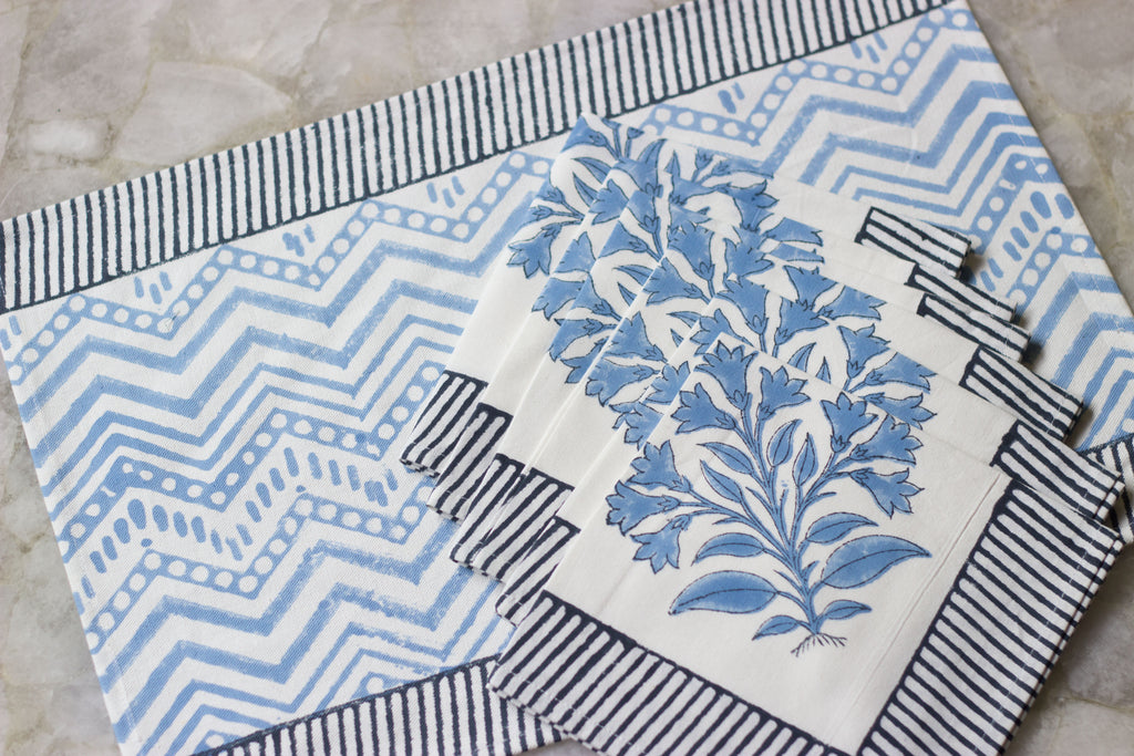 Blue Hand Printed Table Mat & Napkin Set