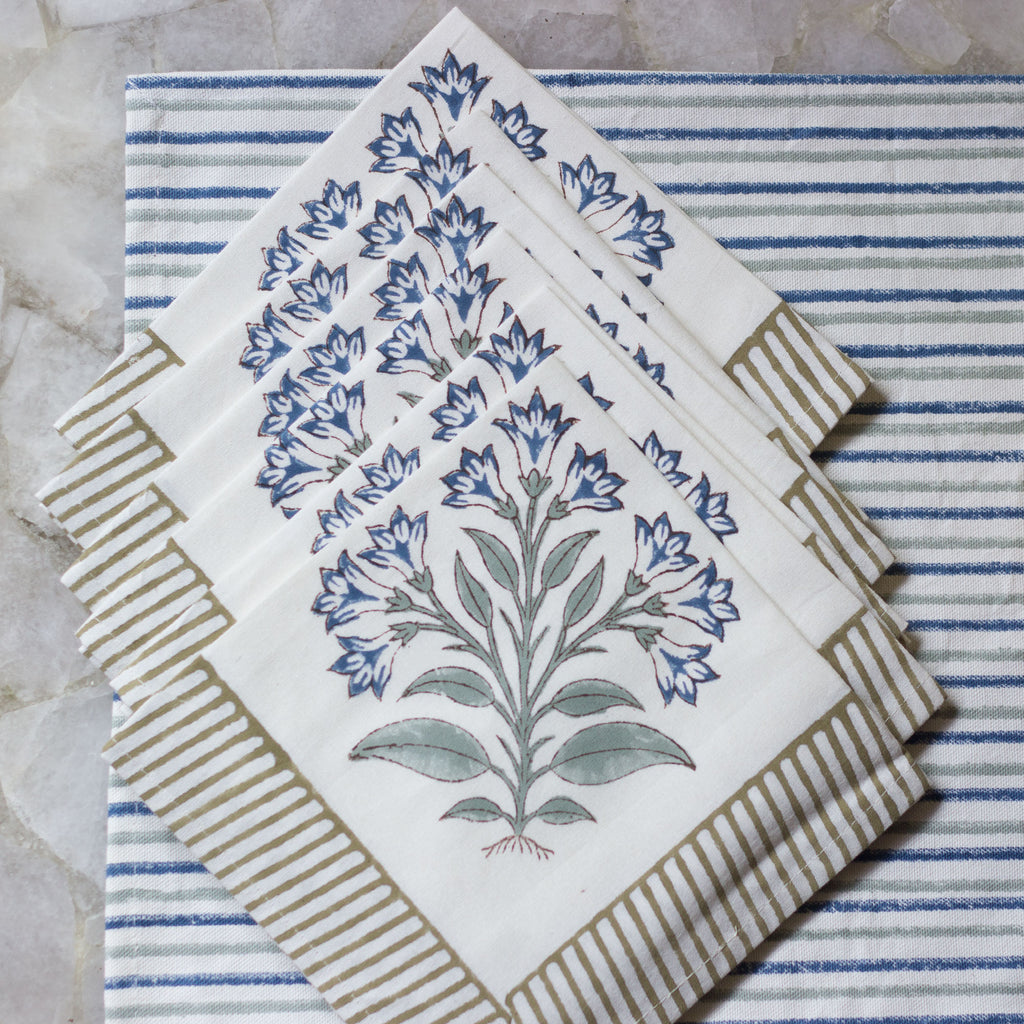 Mughal Butta Napkin With Stripe Mat Set