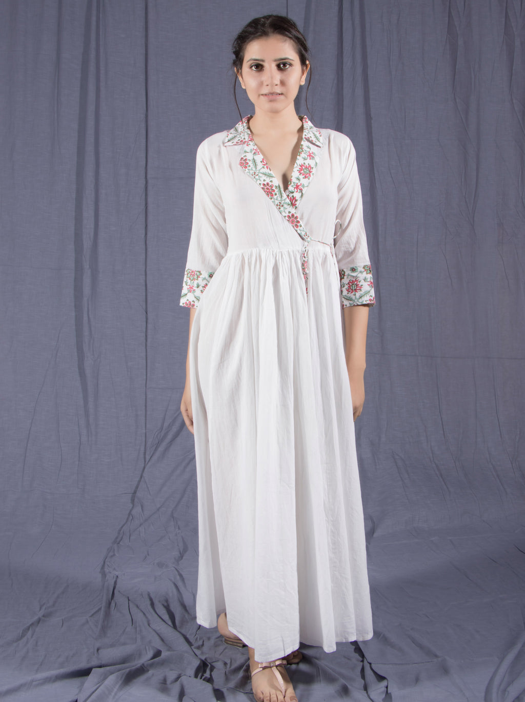 Cotton Voile Block Printed White Angrakha Dress