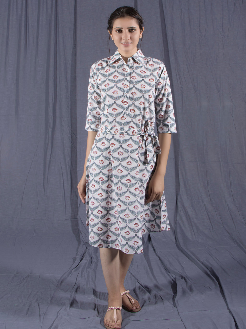 Hand Block Printed Collar Long Midi