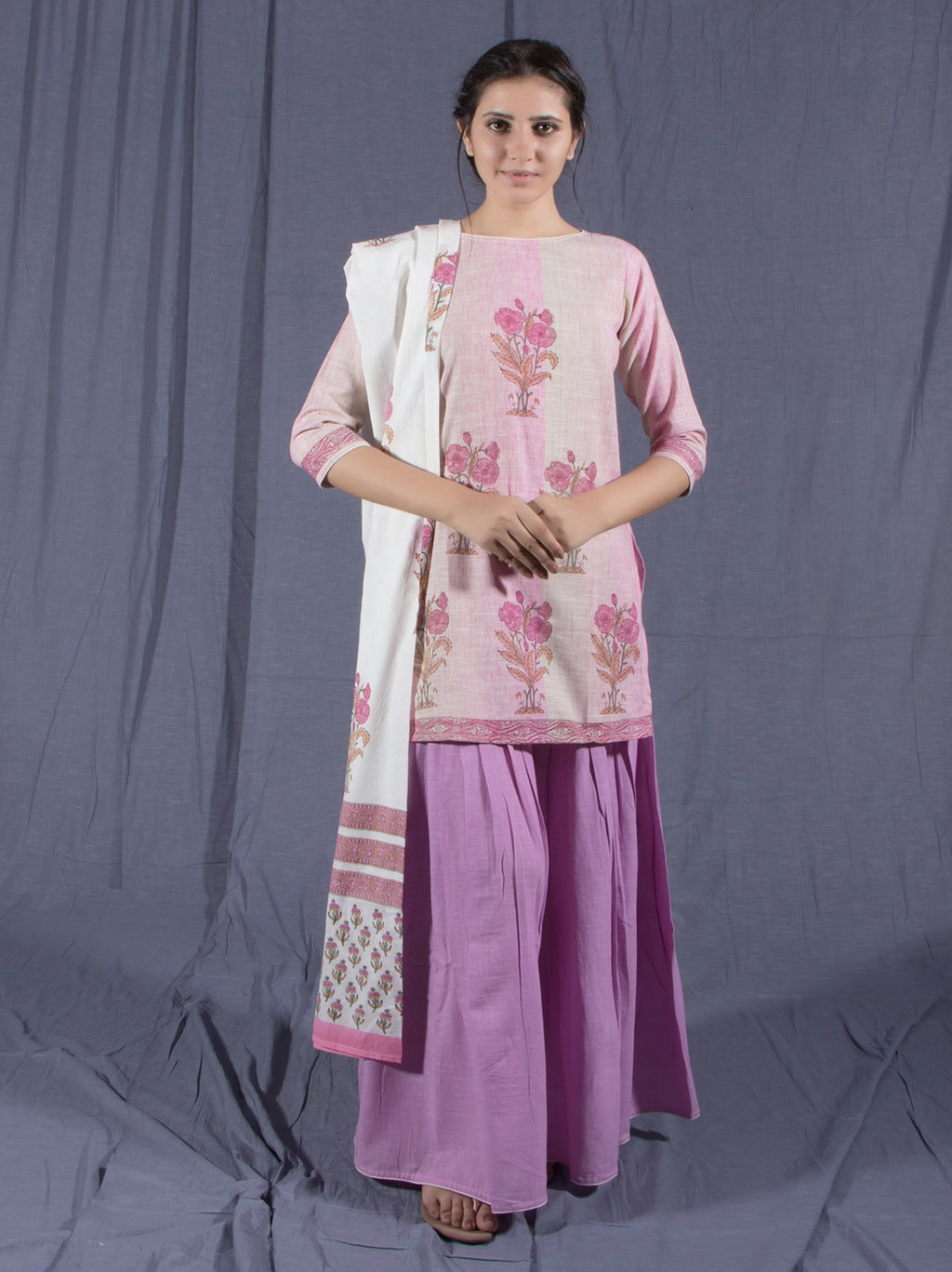 Pink Mauve Gharara Cotton Suit Set