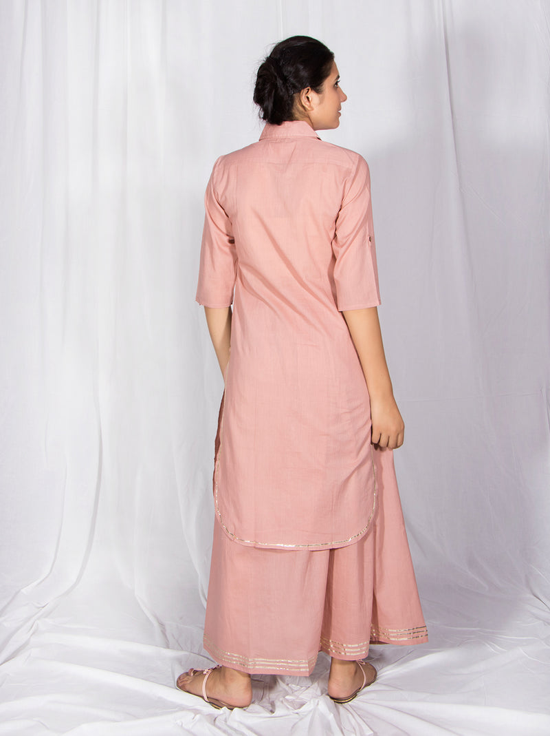 Salmon Gota Patti Skirt Dress