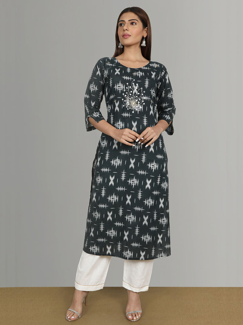 Kurta Set - Cotton Slub Printed Hand  Work Kurta With Pants