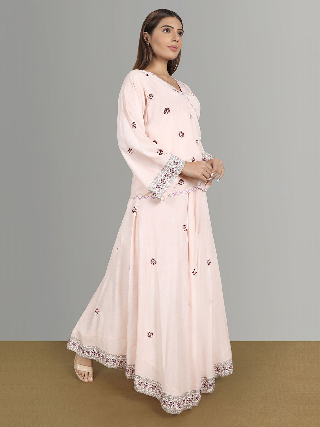 Wedding Kurtis - Ryon Hand Mirror Work Top And Skirt With Printed Border