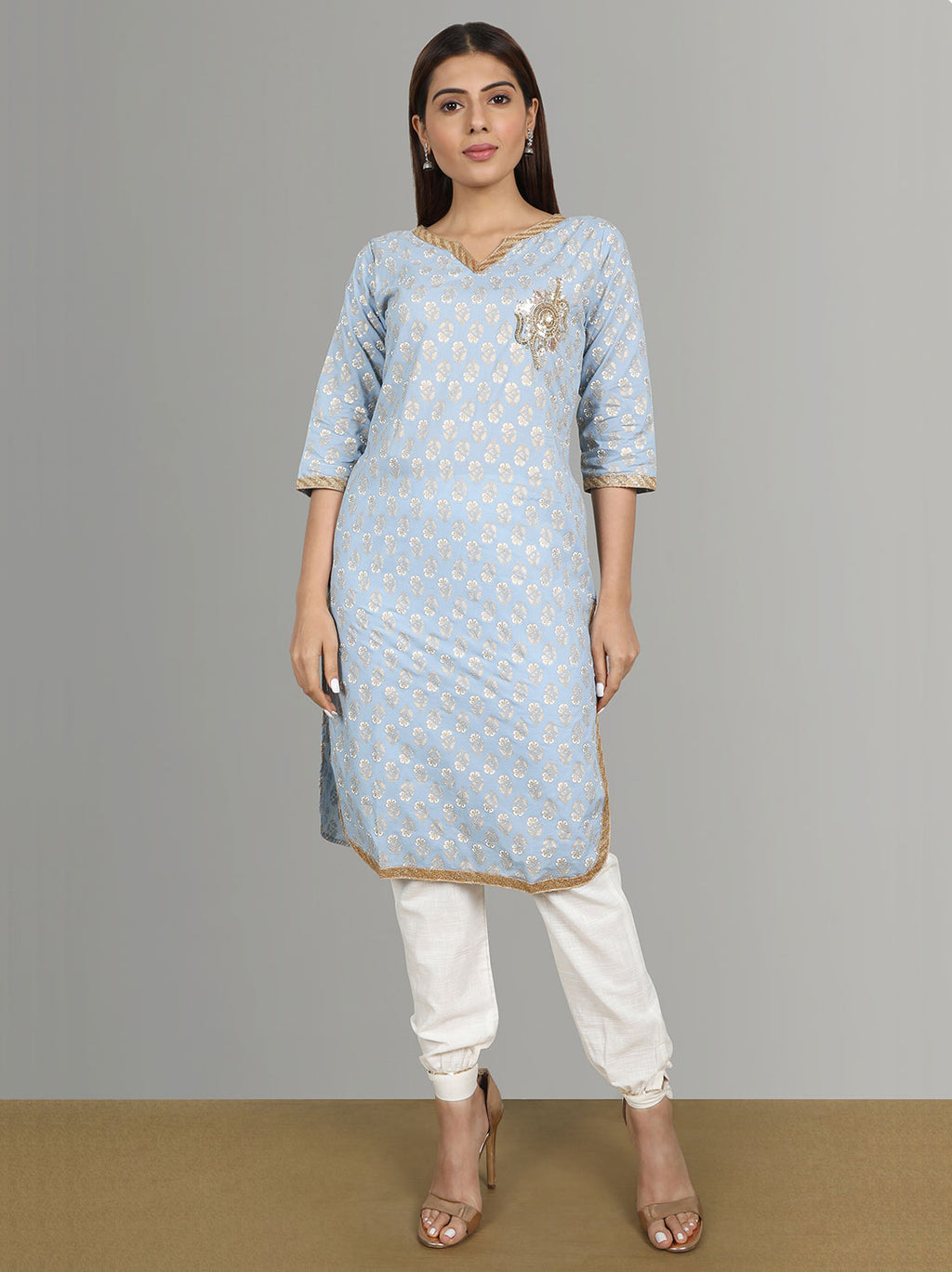 Kurti With Pants - Blue Cotton Kurti With Pencil Pants