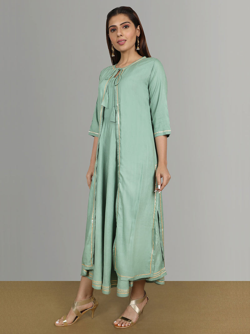 Green kurtis - Ryon Gotta Pati Shrug With Sleeveles Kurti