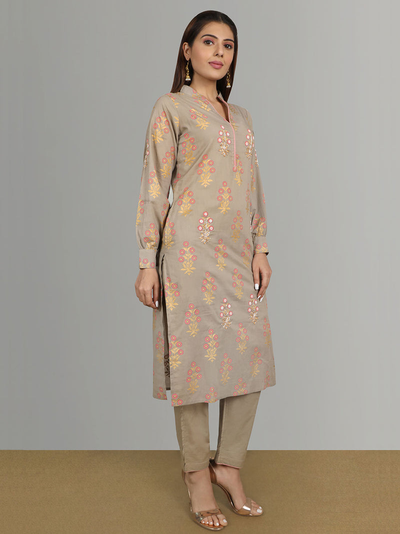 Hand Block Printed Cotton Kurti With Pants