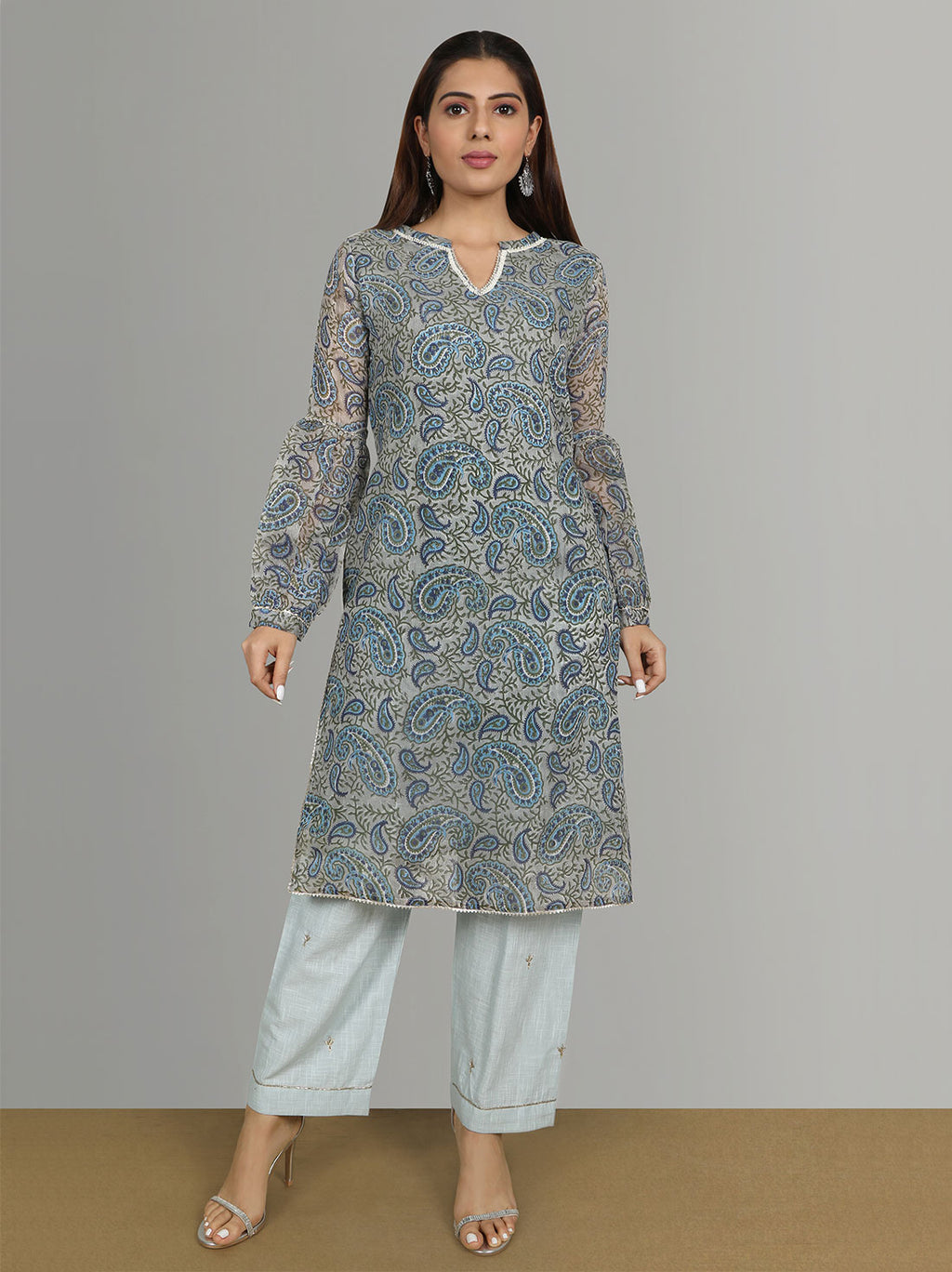 Paisley long kurta with straight pants