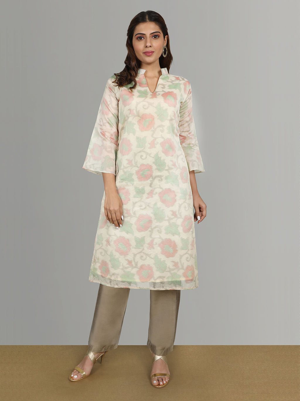 Silk Organza Hand Printed Kurti With Silk Pant