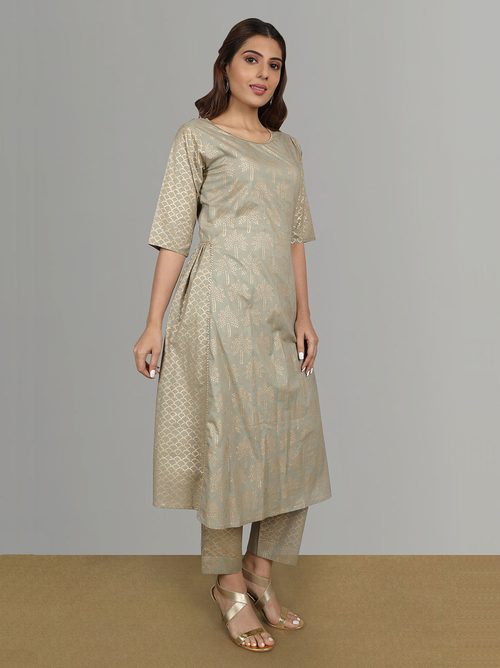 Ethnic Festive Kurtas - Gold printed kurtis with pants