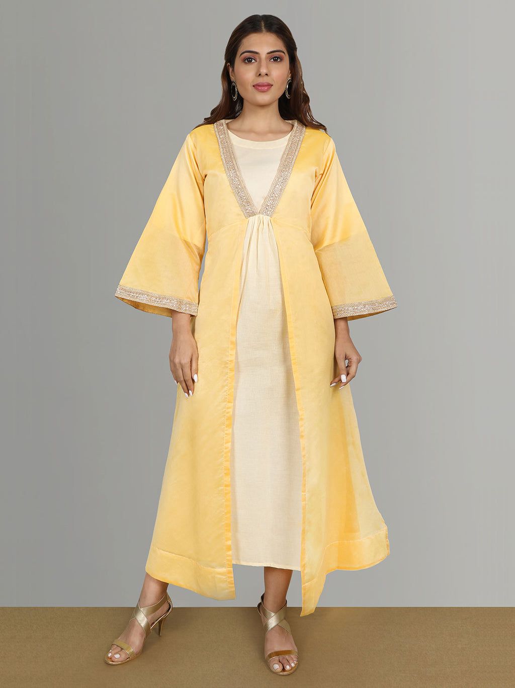 Ethnic Kurti - Maze yellow kurti with chanderi jacket