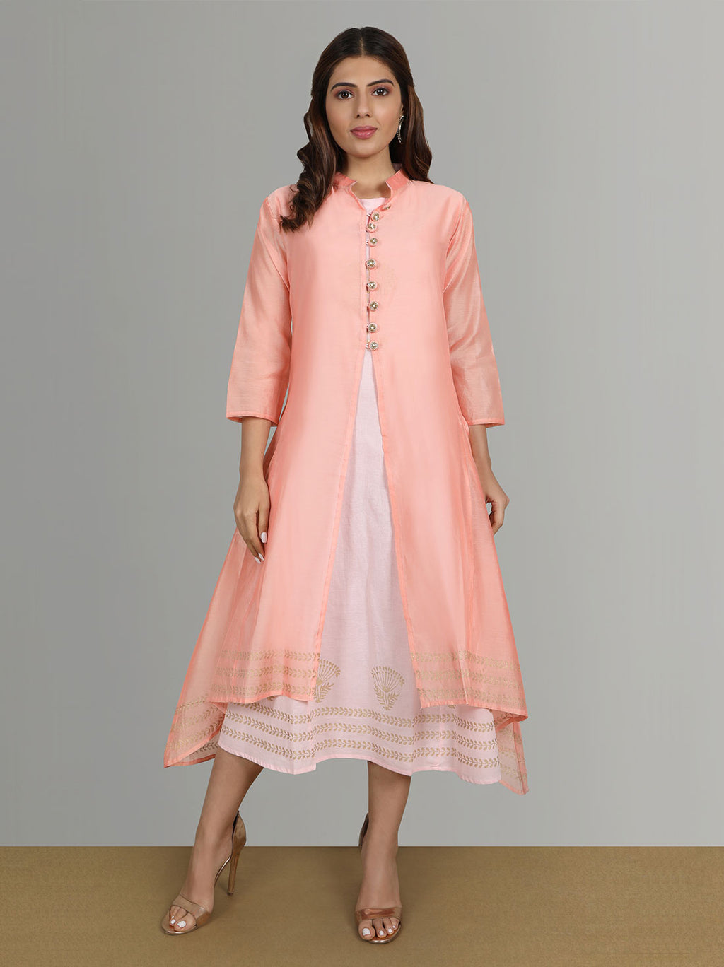 Pink Cotton Kurti With Chanderi Shrug