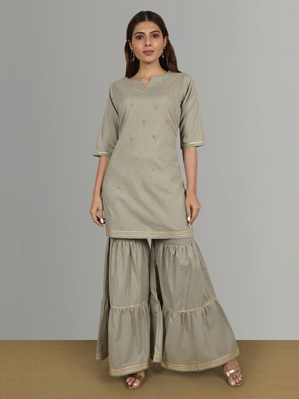 Ethnic Wear Online - Cotton Kurti With Bead Work & Gharara Pants
