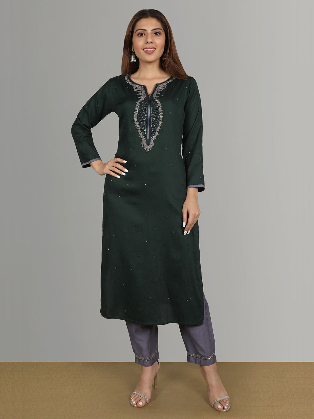 Wedding Kurtis - Bottle Green Kota Kurti With Violet Grey Pants