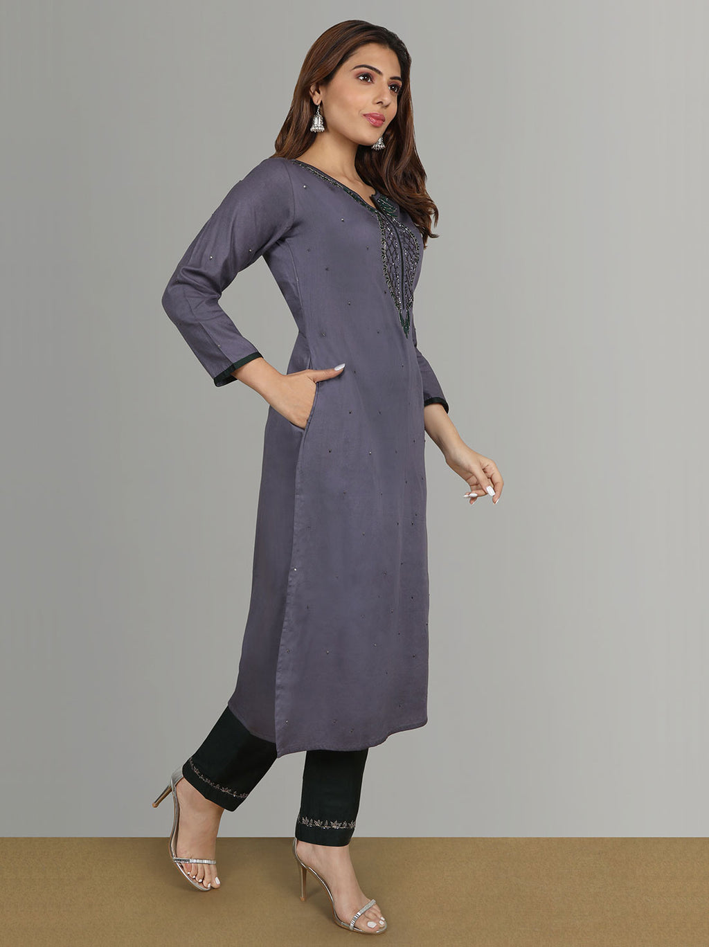 Cotton Kurtis - Violet Grey Cotton Kurti With Bottle Green Pants