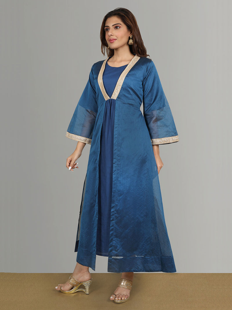 Festive Wear - Blue cotton kurti with chanderi jacket