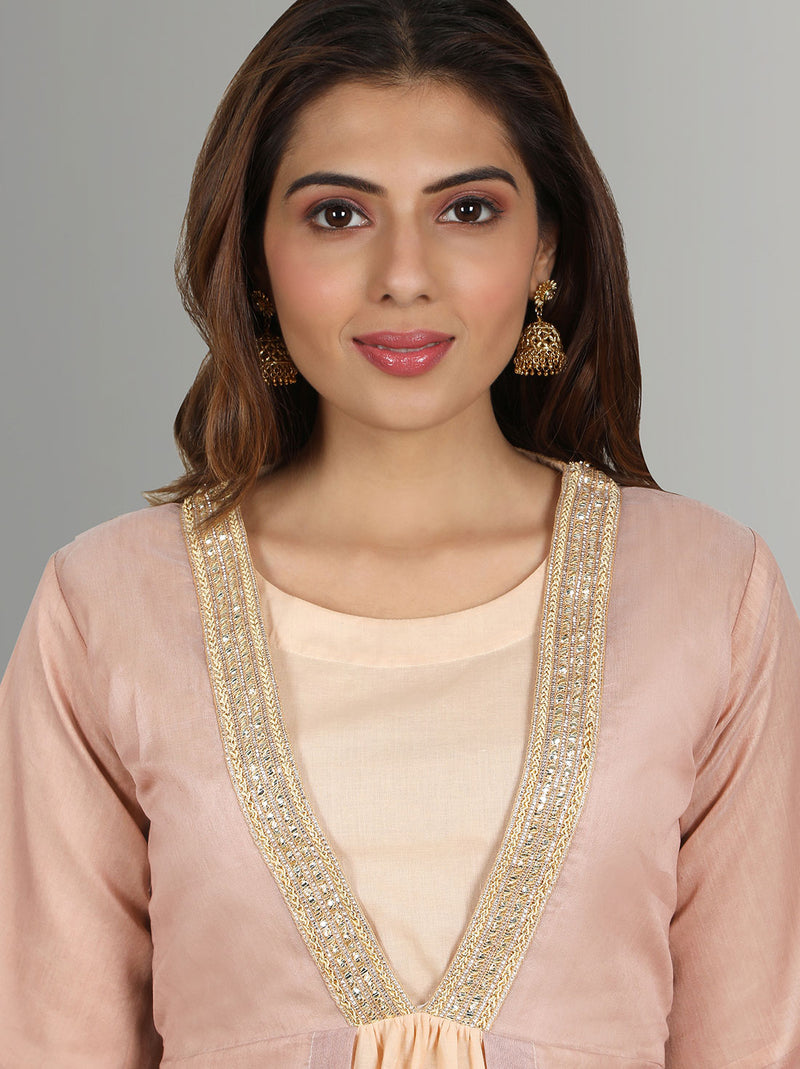 Ethnic Indian Cotton Dresses - Rose gold ethnic kurti