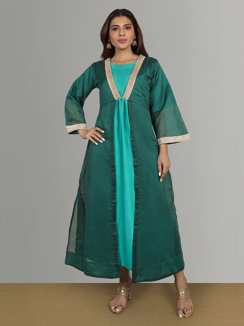 Ethnic Wear - Forest green kurti with chanderi jacket
