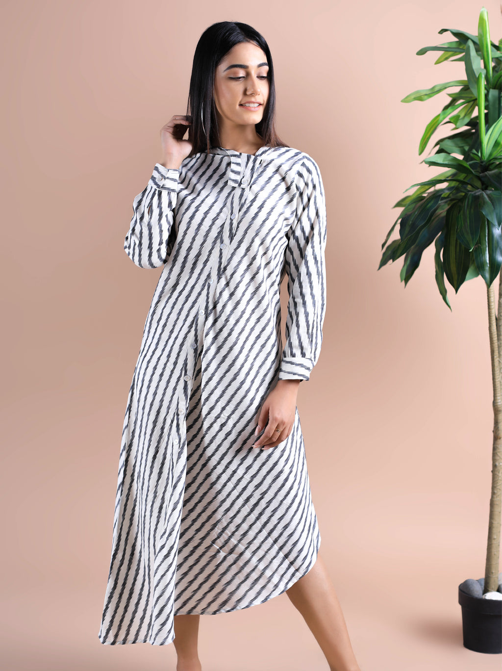 Stripe Ikkat Print Maxi Dress