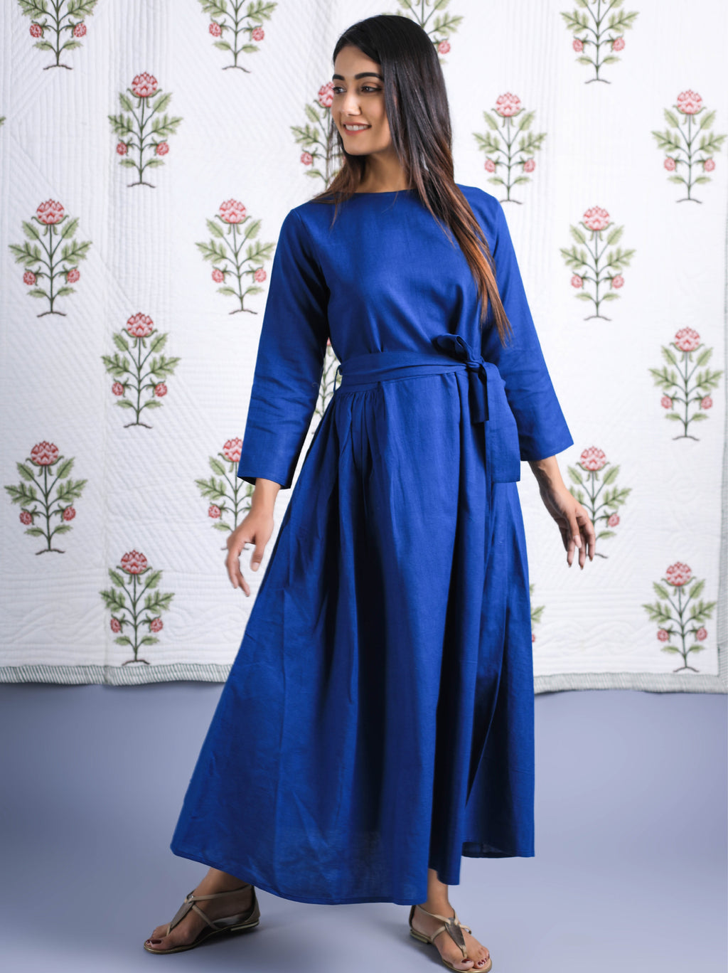 Organic Cotton Maxi Dress With Waist Belt