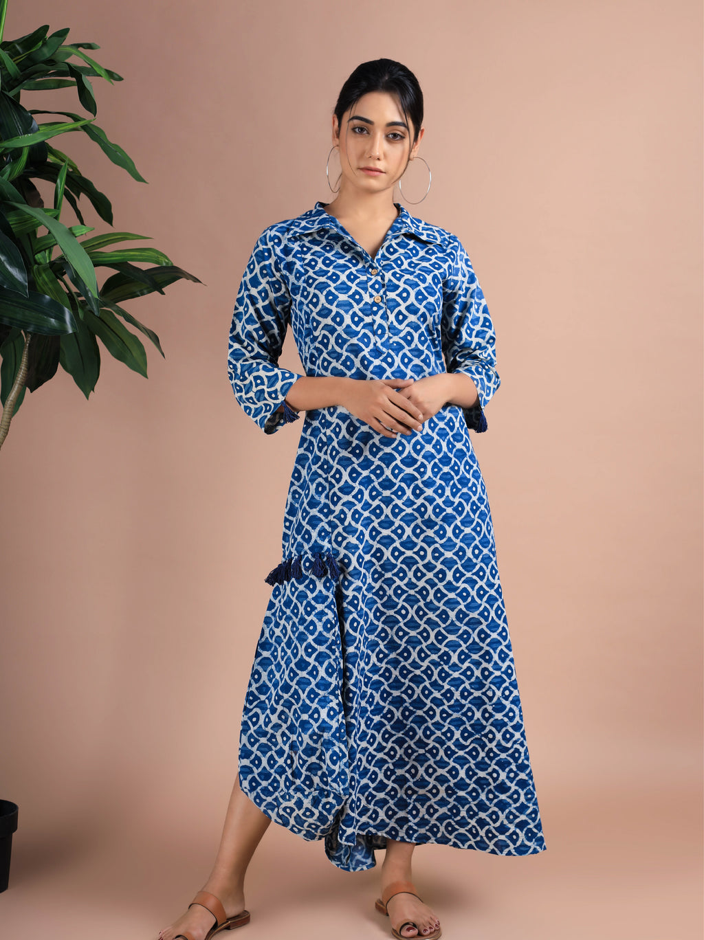 Daabu Print Indigo Dress