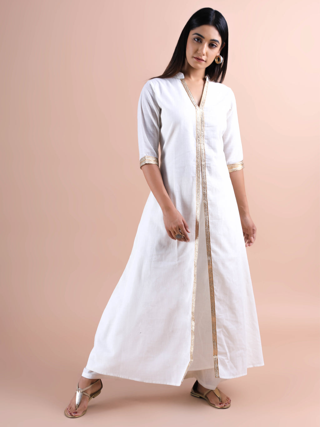 White & Gold Kurti Set