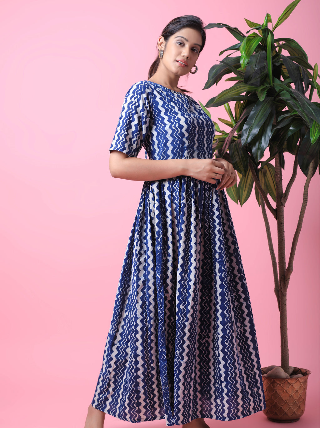 Zigzag Pattern Maxi Dress