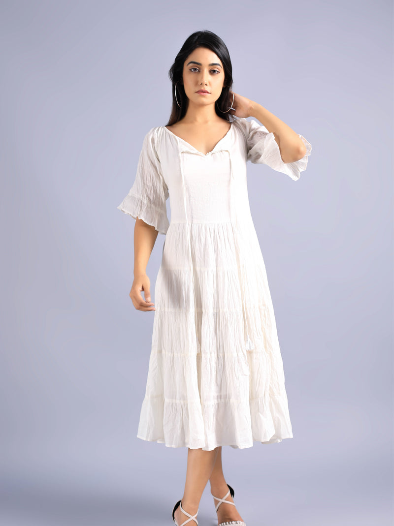 White Mulmul Cotton Dress